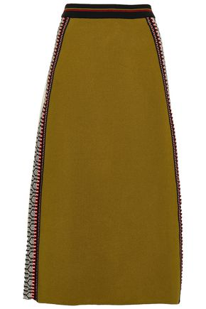 TEMPERLEY LONDON Crochet-trimmed stretch-knit midi skirt