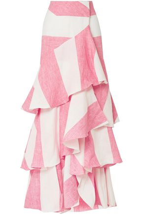 JOHANNA ORTIZ Tabasco ruffled striped linen wrap maxi skirt