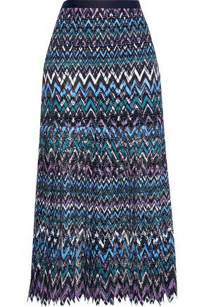 SALONI Diana C pleated guipure lace midi skirt