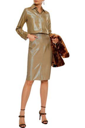 MAX MARA Amico metallic wool-blend twill pencil skirt