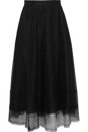 MAX MARA Mabel lace-trimmed cotton-blend point d'esprit midi skirt