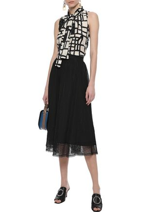 MAX MARA Mabel lace-trimmed cotton-blend point d'esprit midi skirt