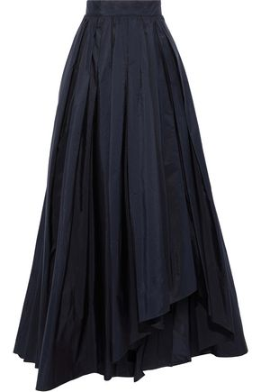 MAX MARA Tarallo flared pleated taffeta maxi skirt