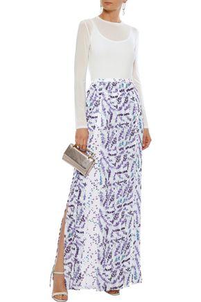 099a7385f42 MAX MARA Oreste layered fringed floral-print georgette maxi skirt