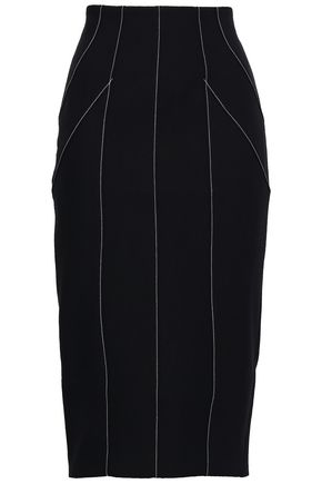 CINQ À SEPT Striped cady midi skirt