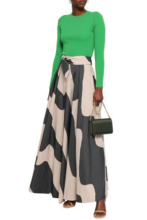 MILLY Jackie tie-front striped cotton-blend maxi skirt