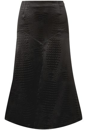 SONIA RYKIEL Croc-effect embossed satin midi skirt