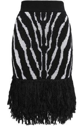 BALMAIN Fringed jacquard-knit skirt