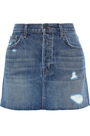 J BRAND Bonny distressed denim mini skirt