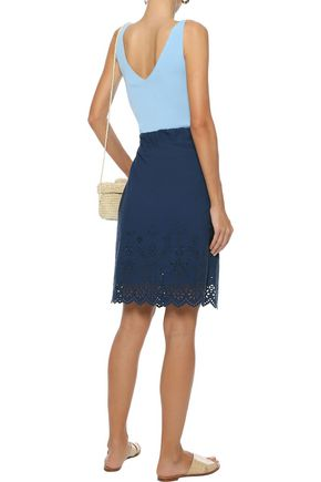 VANESSA BRUNO ATHE' Wrap-effect broderie anglaise cotton skirt