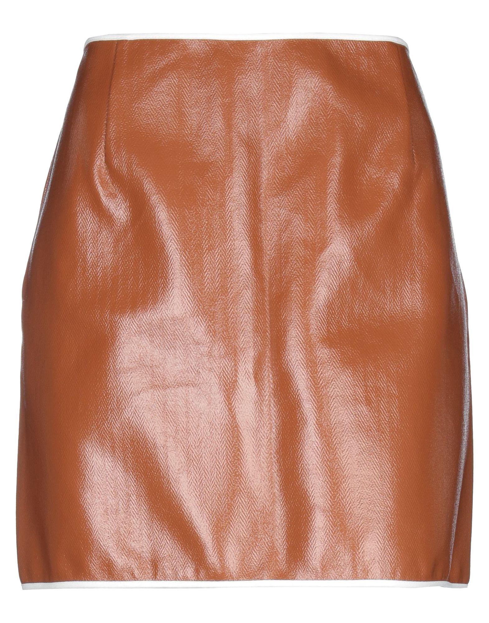 JIL SANDER Mini skirts. faux leather, no appliqués, solid color, rear closure, zip, unlined, large sized. 88% Cotton, 12% Polyurethane