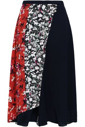 ACNE STUDIOS Paneled floral-print crepe de chine and cady culottes