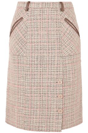 AGNONA Leather-trimmed checked tweed skirt