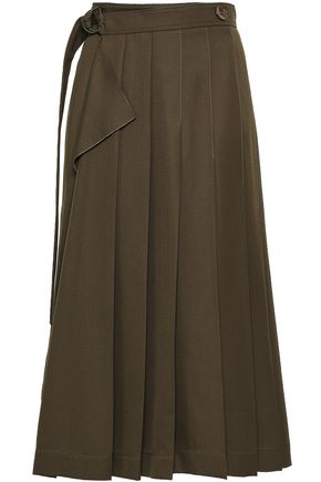 JOSEPH Pleated woven midi wrap skirt