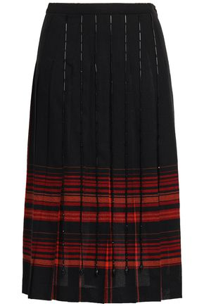 MARCO DE VINCENZO Pleated bead-embellished checked wool skirt