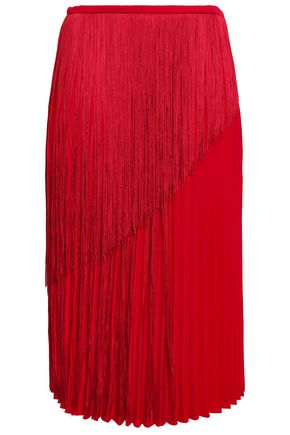 MARCO DE VINCENZO Fringed pleated cady skirt