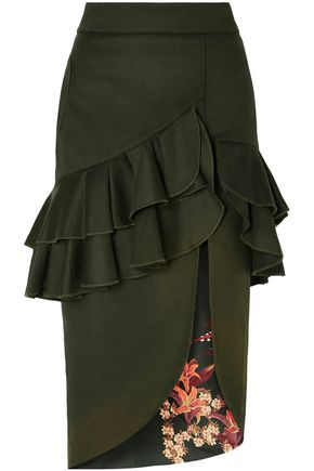 JOHANNA ORTIZ Ruffled wool-blend felt midi skirt