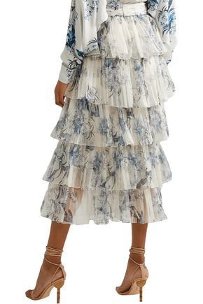 JOHANNA ORTIZ Journey of the Soul tiered pleated floral-print silk-organza skirt