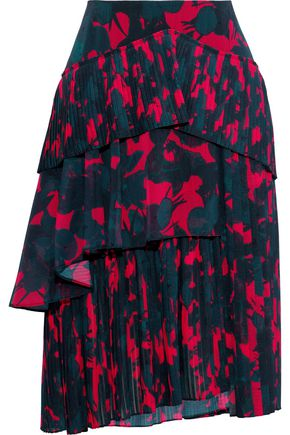JASON WU Tiered pleated floral-print georgette skirt