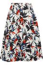 JASON WU Pleated floral-print cotton-poplin skirt