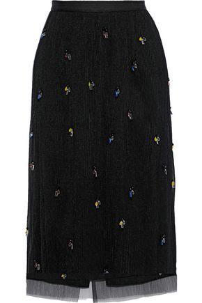 JASON WU Crystal-embellished plissé-tulle midi skirt