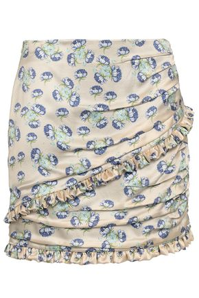 MAGDA BUTRYM Reims ruched floral-print silk mini skirt