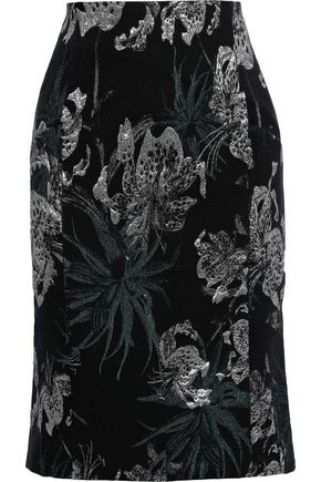 ERDEM Brenda metallic floral-jacquard pencil skirt