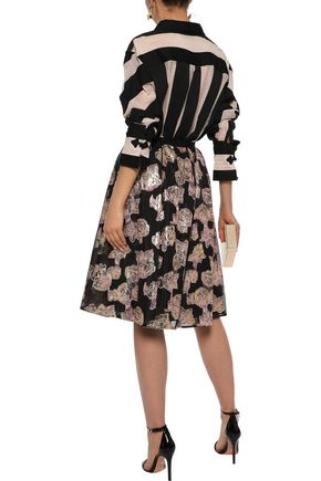 ERDEM Halyn pleated metallic fil coupé organza skirt