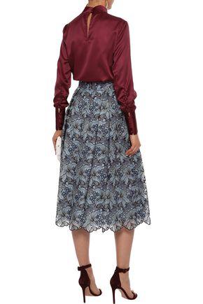 ERDEM Imari metallic broderie anglaise silk midi skirt