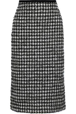 ERDEM Safia metallic houndstooth cotton-blend tweed pencil skirt