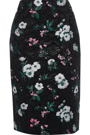 PRABAL GURUNG Metallic floral-jacquard pencil skirt