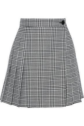 TOME Pleated houndstooth jacquard mini wrap skirt
