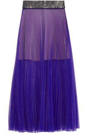 CHRISTOPHER KANE Crystal-embellished pleated mesh maxi skirt