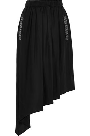 CHRISTOPHER KANE Asymmetric crystal-embellished crepe de chine midi skirt
