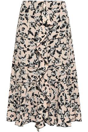 PROENZA SCHOULER Ruffled floral-print silk crepe de chine skirt