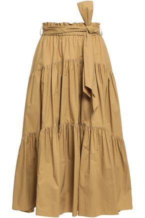 PROENZA SCHOULER Belted cotton-poplin midi skirt
