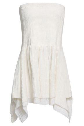 KITX Shirred linen-gauze mini skirt