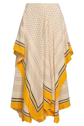 KITX Layered printed silk crepe de chine midi skirt