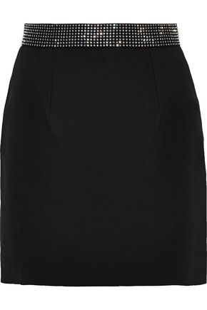 CHRISTOPHER KANE Crystal-embellished twill mini skirt