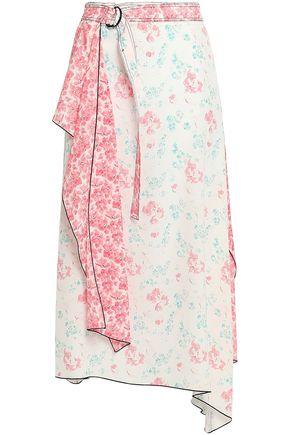 JOSEPH Asymmetric layered floral-print silk crepe de chine midi skirt