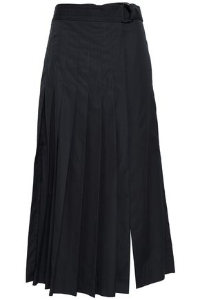 JOSEPH Miles pleated cotton-poplin midi wrap skirt