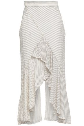 KITX Draped striped cotton-blend gauze skirt