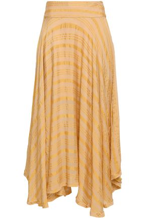 KITX Asymmetric printed silk-blend crepe de chine midi skirt