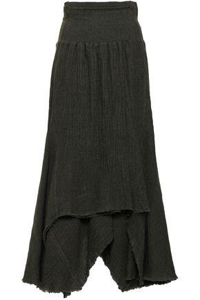 KITX Shirred linen midi skirt
