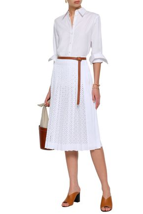 TORY BURCH Laser-cut pleated woven midi skirt