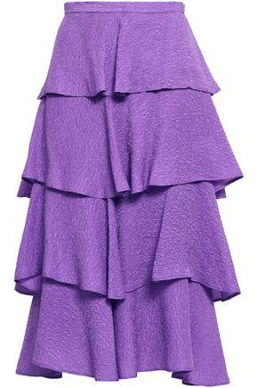 BAUM UND PFERDGARTEN Tiered silk-blend cloqué midi skirt