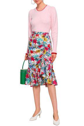 BAUM UND PFERDGARTEN Ruched floral-print silk-jacquard midi skirt