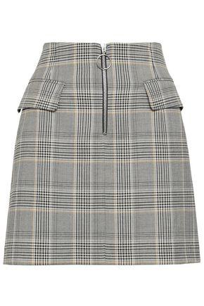BAUM UND PFERDGARTEN Zip-detailed Prince of Wales checked woven mini skirt