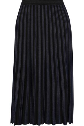 DIANE VON FURSTENBERG Klara pleated metallic stretch-knit skirt