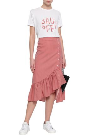 BAUM UND PFERDGARTEN Ruffled striped cotton-blend poplin midi skirt